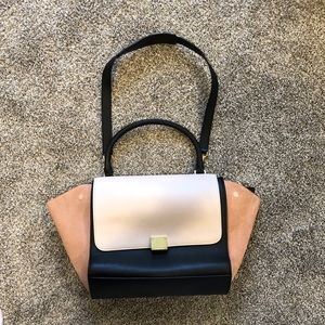 Handbags - Two toned Blush Suede and leather satchel bag